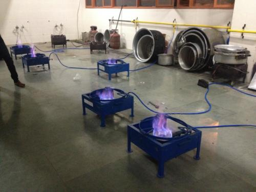 Biogas distribution at equal pressure at multiple industrial / commercial Burners