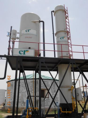 Low pressure water scrubber for Biogas